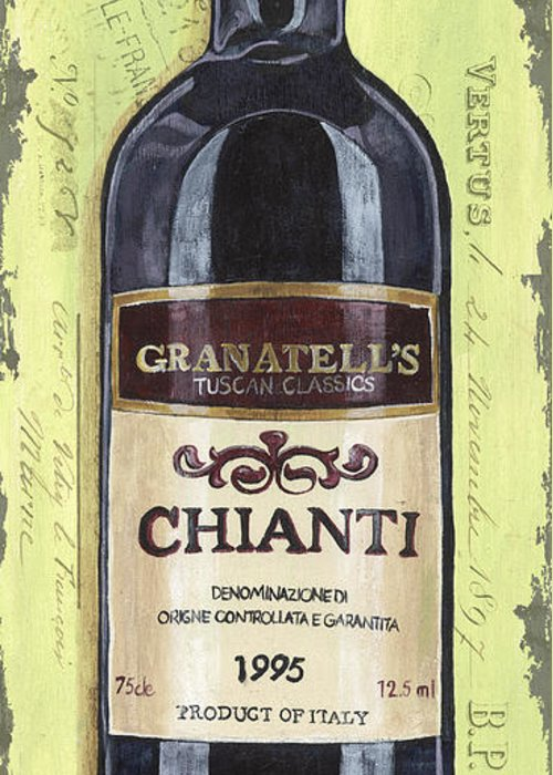 Alcohol Greeting Card featuring the painting Chianti And Friends Panel 1 by Debbie DeWitt