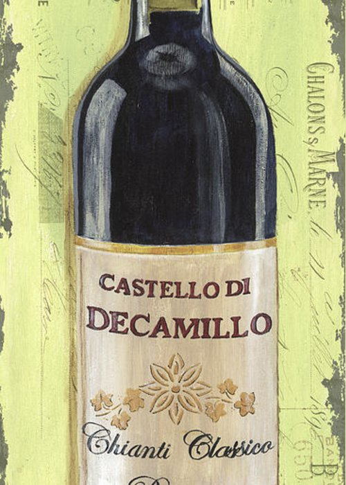 Alcohol Greeting Card featuring the painting Chianti And Friends Panel 2 by Debbie DeWitt