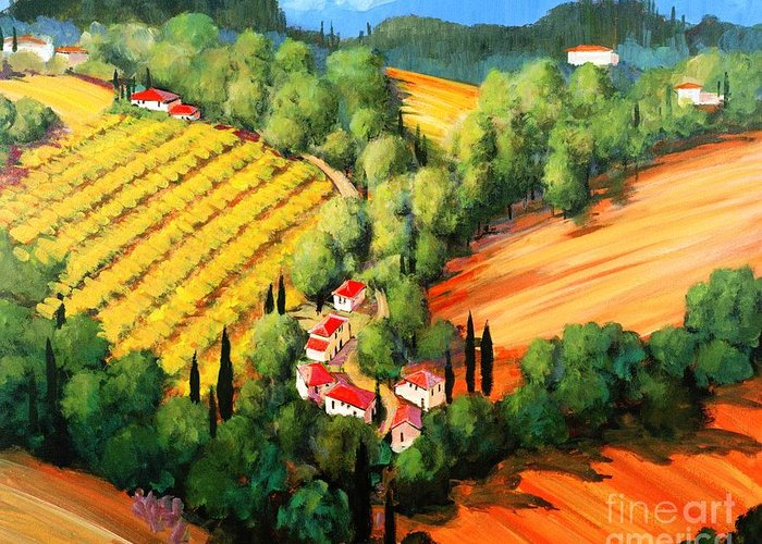 Chianti Landscape Greeting Card featuring the painting Chianti Road by Michael Swanson