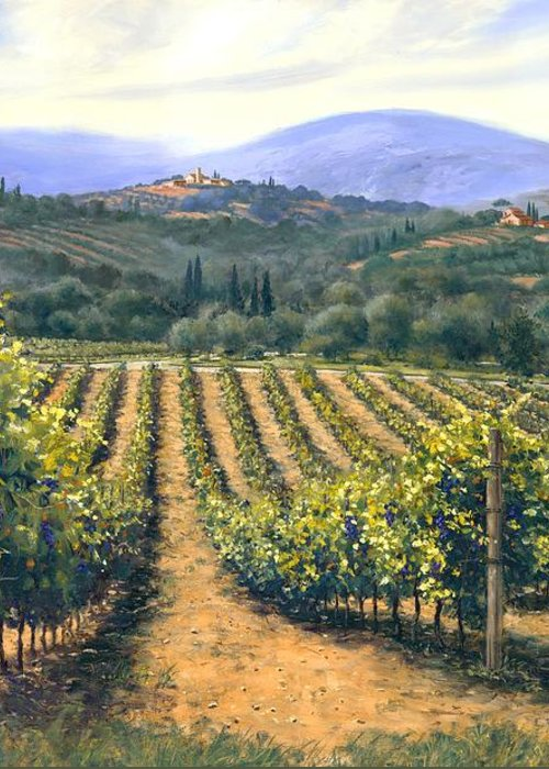 Chianti Vines Greeting Card featuring the painting Chianti Vines by Michael Swanson