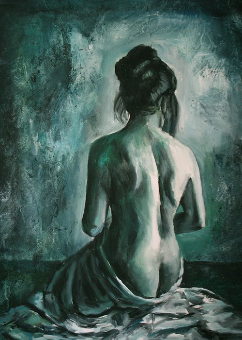 Nude Greeting Card featuring the painting Chiaro Di Luna by Escha Van den bogerd