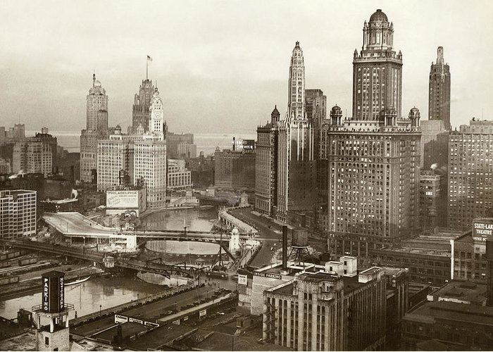 1931 Greeting Card featuring the photograph Chicago, 1931 by Granger