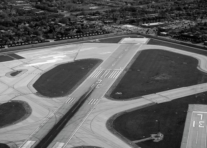 Midway Airport Greeting Card featuring the photograph Chicago Airplanes 04 Black And White by Thomas Woolworth