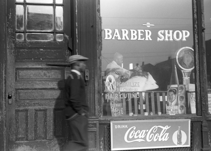 1941 Greeting Card featuring the photograph Chicago Barber Shop, 1941 by Granger