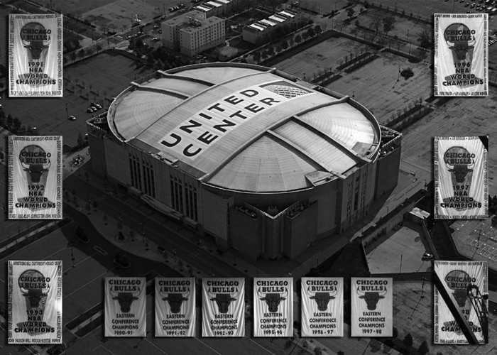 Chicago Bulls Greeting Card featuring the photograph Chicago Bulls Banners In Black And White by Thomas Woolworth