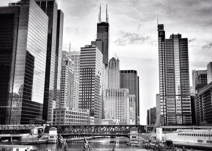 America Greeting Card featuring the photograph Chicago River Buildings Black and White Photo by Paul Velgos