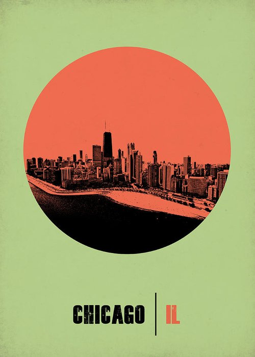 Chicago Greeting Card featuring the digital art Chicago Circle Poster 1 by Naxart Studio