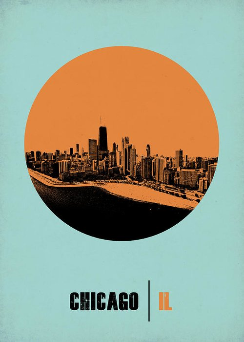 Chicago Greeting Card featuring the digital art Chicago Circle Poster 2 by Naxart Studio
