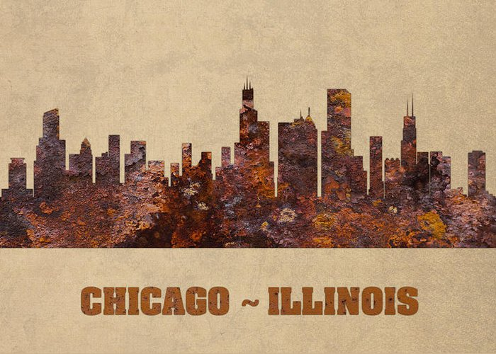 Chicago Skyline Mixed Media Greeting Cards
