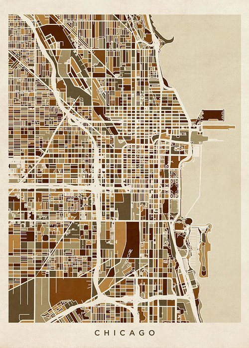 Chicago Greeting Card featuring the digital art Chicago City Street Map by Michael Tompsett