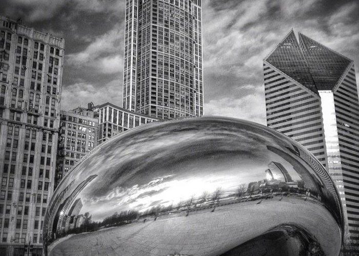 America Greeting Card featuring the photograph Chicago Bean Cloud Gate HDR Picture by Paul Velgos