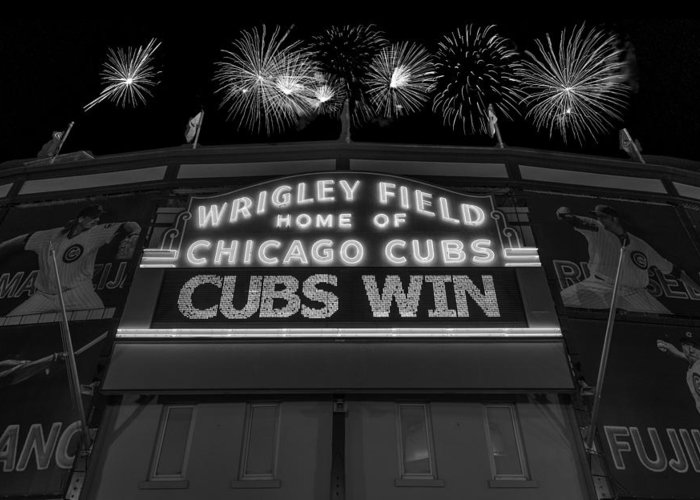 Chicago Greeting Card featuring the photograph Chicago Cubs Win Fireworks Night B W by Steve Gadomski