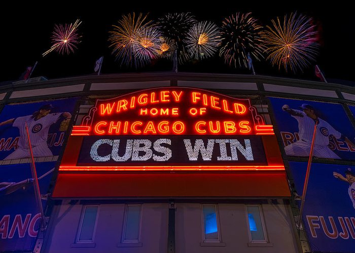 Chicago Greeting Card featuring the photograph Chicago Cubs Win Fireworks Night by Steve Gadomski