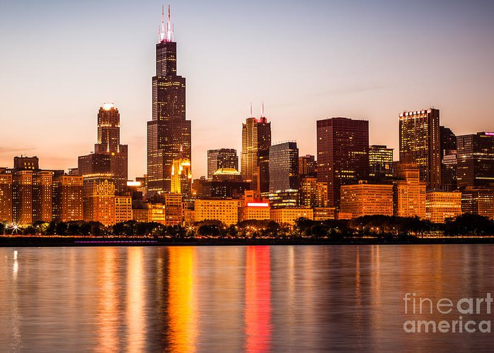 America Greeting Card featuring the photograph Chicago Downtown City Lakefront With Willis-sears Tower by Paul Velgos