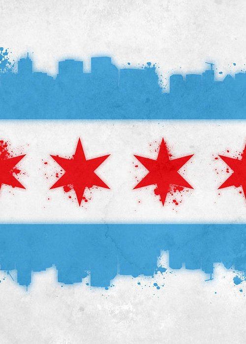 Chicago Greeting Card featuring the painting Chicago Flag by Mike Maher