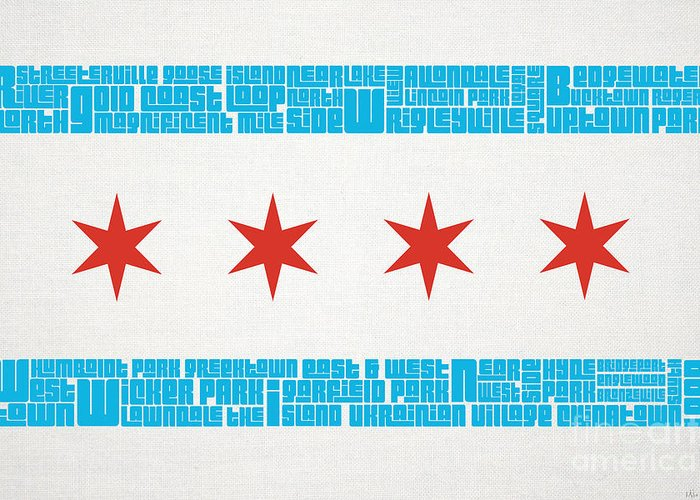 Chicago Greeting Card featuring the mixed media Chicago Flag Neighborhoods by Mike Maher