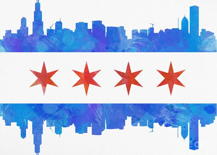 Chicago Greeting Card featuring the painting Chicago Flag Watercolor by Mike Maher