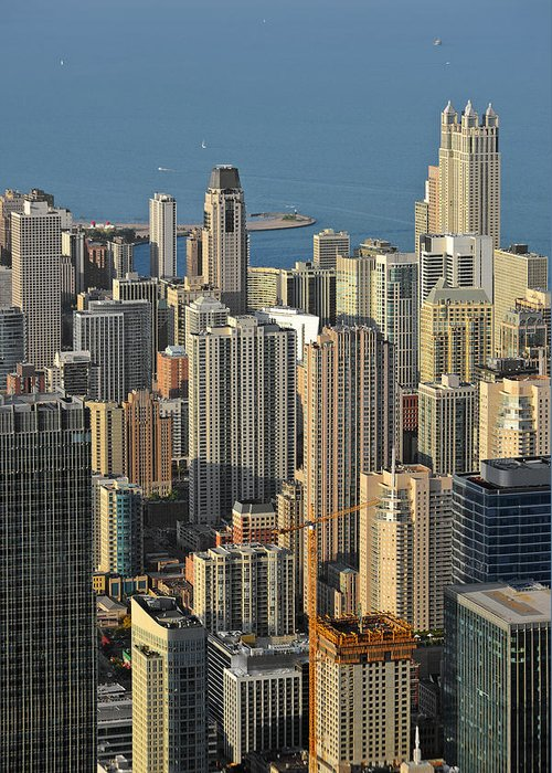 Aerial Greeting Card featuring the photograph Chicago From Above - What A View by Christine Till