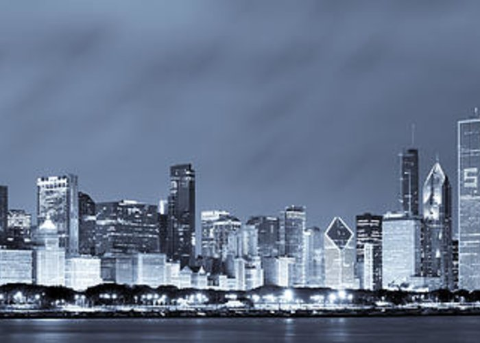 Chicago Skyline Greeting Card featuring the photograph Chicago In Blue by Sebastian Musial