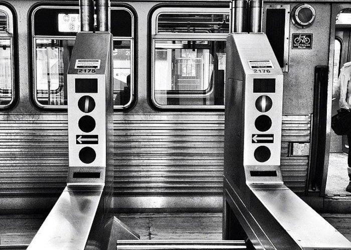Chicagogram Greeting Card featuring the photograph Chicago L Train Gate In Black And White by Paul Velgos
