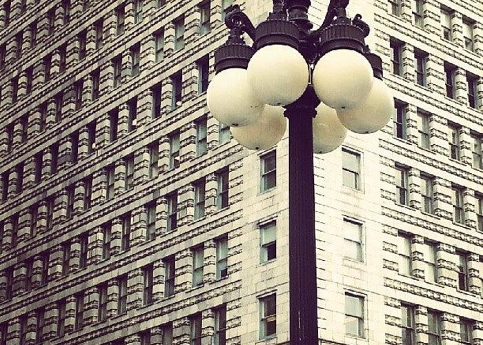 Chicago Greeting Card featuring the photograph Chicago Lamp Post by Jill Tuinier