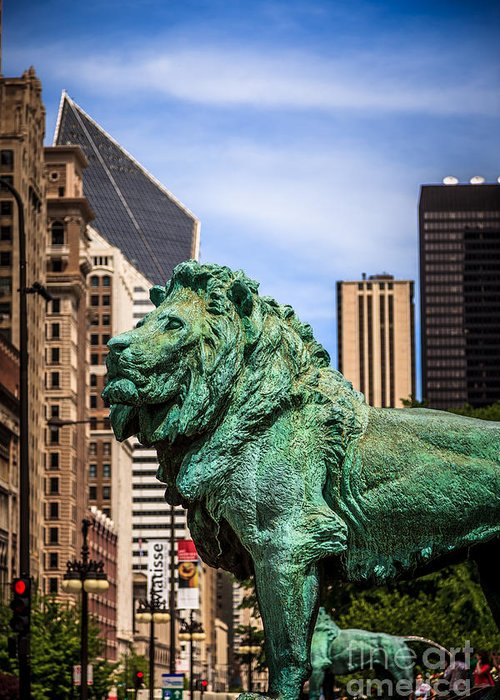 America Greeting Card featuring the photograph Chicago Lion Statues At The Art Institute by Paul Velgos