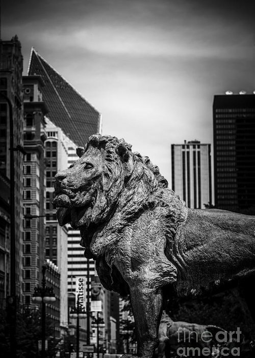 America Greeting Card featuring the photograph Chicago Lion Statues In Black And White by Paul Velgos