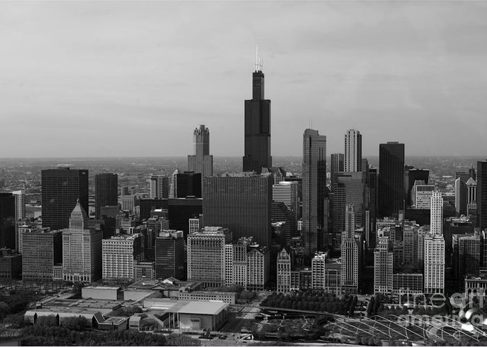 Black And White Greeting Card featuring the photograph Chicago Looking West 01 Black And White by Thomas Woolworth