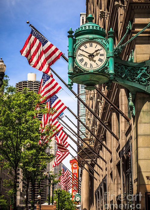 America Greeting Card featuring the photograph Chicago Macy's Clock And Chicago Theatre Sign by Paul Velgos