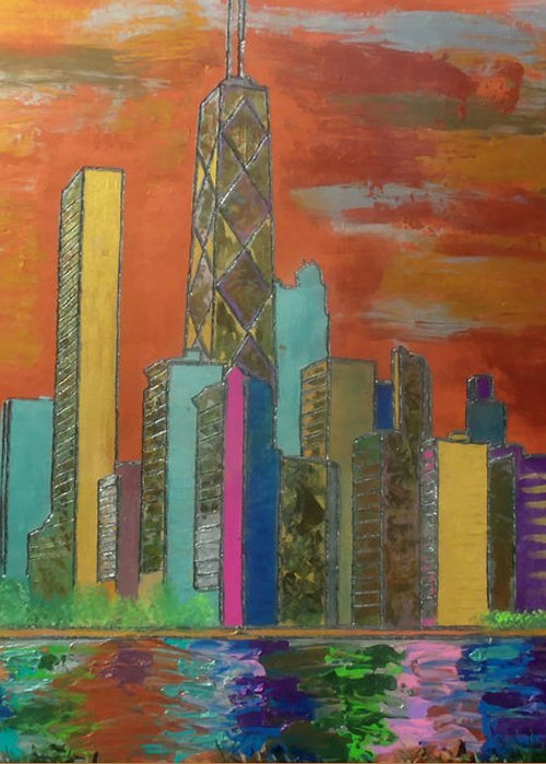 Chicago Greeting Card featuring the painting Chicago Metallic Skyline by Char Swift