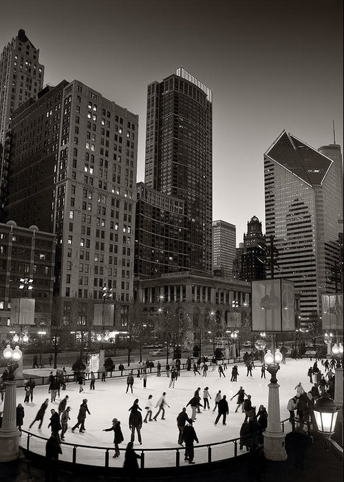 Chicago Greeting Card featuring the photograph Chicago Park Skate Bw by Steve Gadomski
