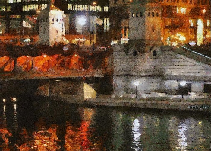 Bridge Greeting Card featuring the painting Chicago River At Michigan Avenue by Jeff Kolker