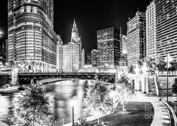 America Greeting Card featuring the photograph Chicago River Buildings at Night in Black and White by Paul Velgos