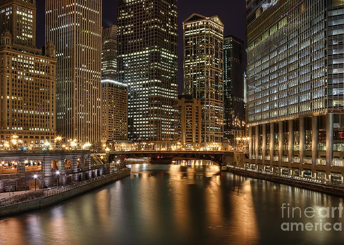 Chicago Greeting Card featuring the photograph Chicago River by Scott Wood