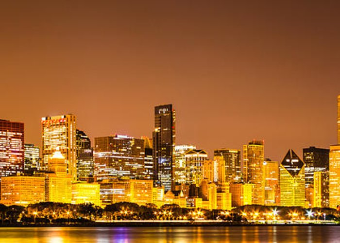 America Greeting Card featuring the photograph Chicago Skyine At Night Panoramic Photo by Paul Velgos