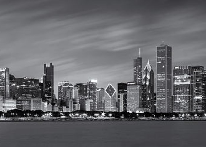 3scape Photos Greeting Card featuring the photograph Chicago Skyline At Night Black And White Panoramic by Adam Romanowicz
