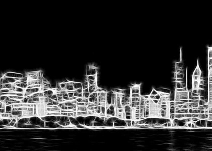Chicago Greeting Card featuring the photograph Chicago Skyline Fractal Black And White by Adam Romanowicz