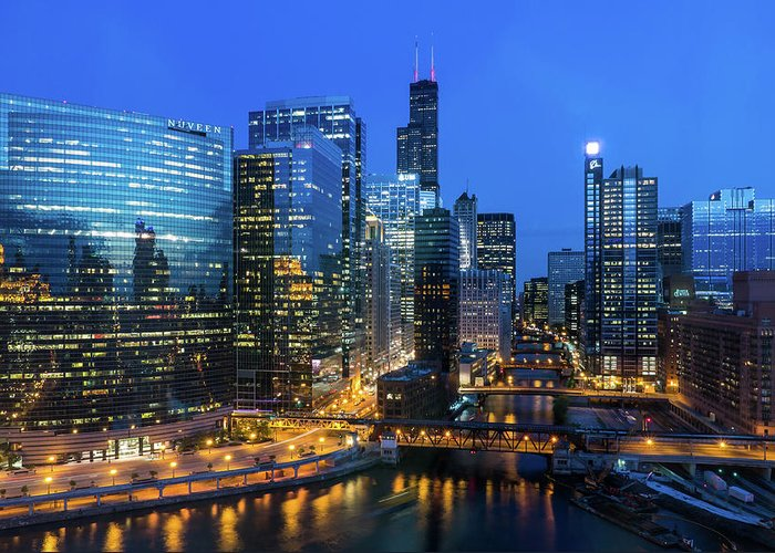 Tranquility Greeting Card featuring the photograph Chicago Skyline by Michael Lee