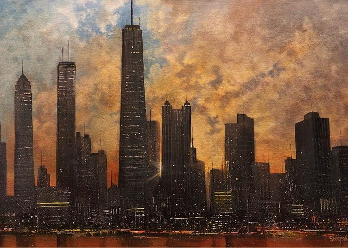 Chicago Greeting Card featuring the painting Chicago Skyline Silhouette by Tom Shropshire