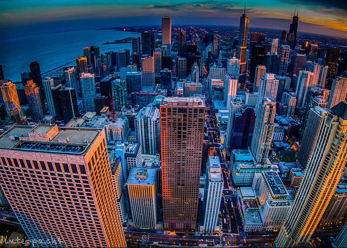 Chicago Greeting Card featuring the photograph Chicago Sunset Glow by Raf Winterpacht