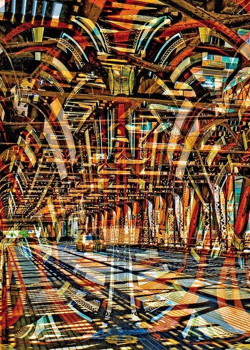 Bridge Greeting Card featuring the digital art Chicago Taxi by Chuck Brittenham
