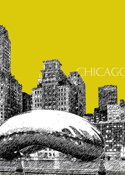 Architecture Greeting Card featuring the digital art Chicago The Bean - Mustard by DB Artist