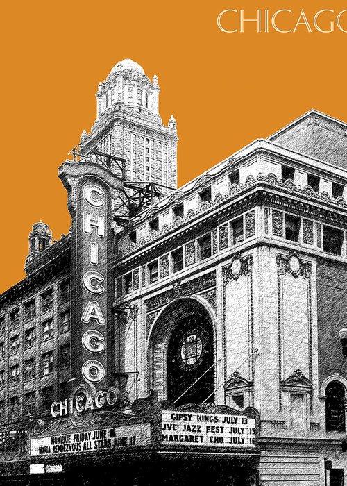 Architecture Greeting Card featuring the digital art Chicago Theater - Dark Orange by DB Artist