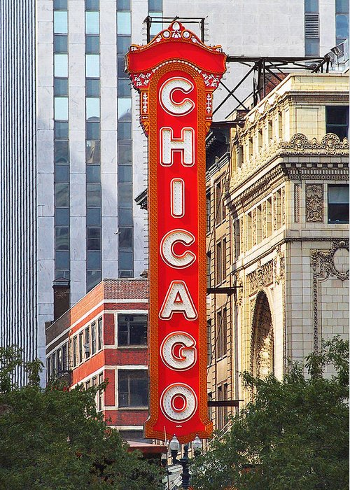 Chicago Greeting Card featuring the photograph Chicago Theatre - A Classic Chicago Landmark by Christine Till