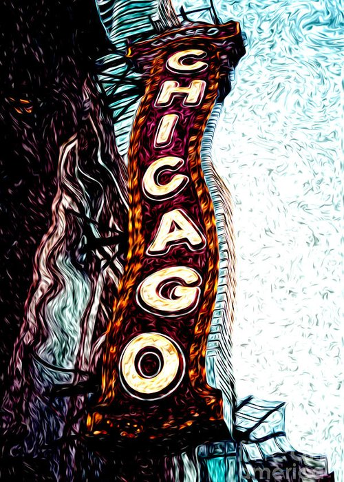 America Greeting Card featuring the photograph Chicago Theatre Sign Digital Art by Paul Velgos