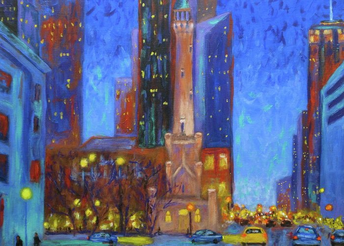 Magnificent Mile Paintings Greeting Cards