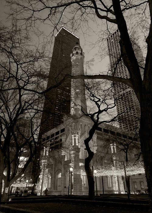 Ave Greeting Card featuring the photograph Chicago Water Tower B W by Steve Gadomski
