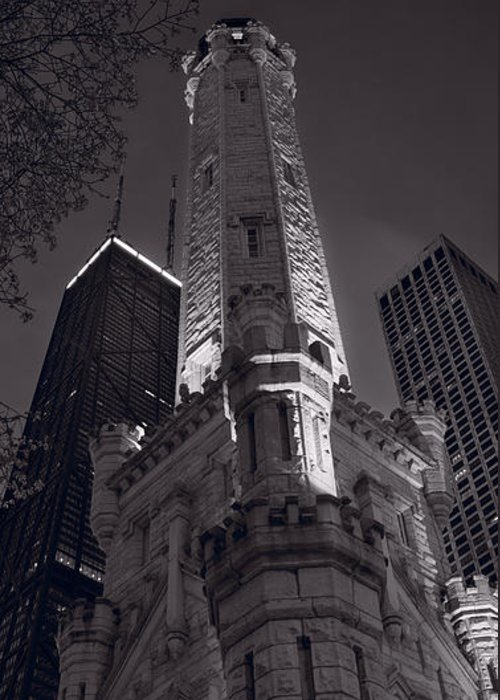Chicago Greeting Card featuring the photograph Chicago Water Tower Panorama B W by Steve Gadomski