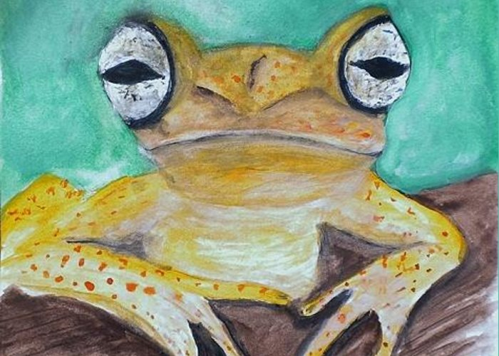 Wildlife Greeting Card featuring the painting Chichia Tree Frog by Linda Waidelich