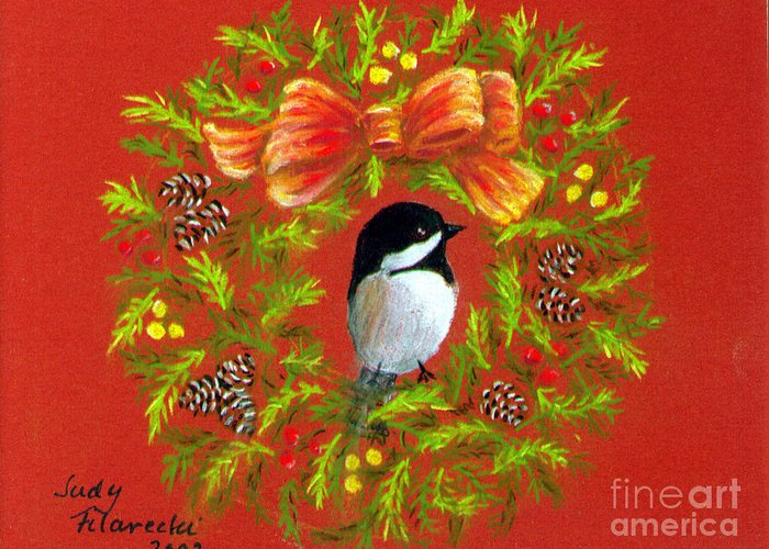 Christmas Greeting Card featuring the painting Chickadee Holiday Greeting Card by Judy Filarecki